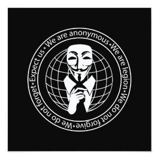 Anonymous seal 13 cm x 13 cm square invitation card