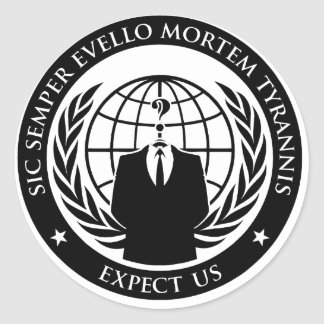 Anonymous Sic Semper Evello Mortem Tyrannis Classic Round Sticker