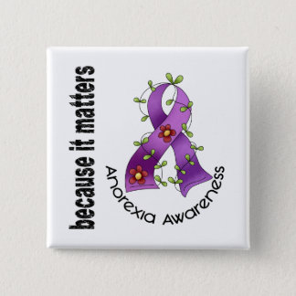 Anorexia Flower Ribbon 3 15 Cm Square Badge