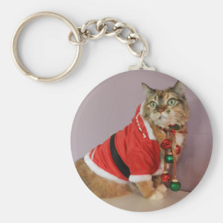 Another Christmas Santa cat Basic Round Button Key Ring