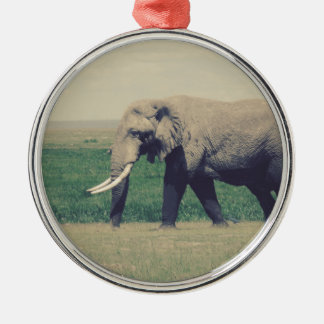 Another Marching Elephant Silver-Colored Round Decoration