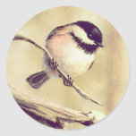 ANOTHER SMALL CHICKADEE by SHARON SHARPE Round Stickers