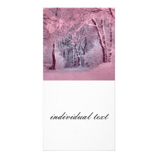another winter wonderland pink personalised photo card