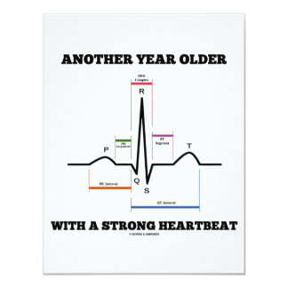 "Another Year Older With A Strong Heartbeat ECG/EKG 4.25"" X 5.5"" Invitation Card"