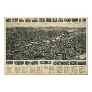 Ansonia Connecticut 1921 Antique Panoramic Map Poster