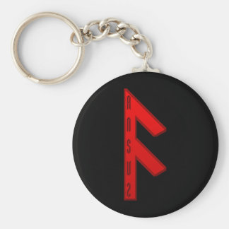 Ansuz Rune red Basic Round Button Key Ring