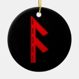 Ansuz Rune red Round Ceramic Decoration