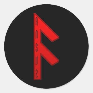 Ansuz Rune red Round Sticker