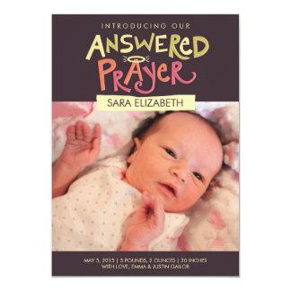 Answered Prayer Girls Birth Announcement
