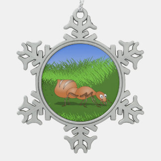 Ant in tall green grass pewter snowflake decoration