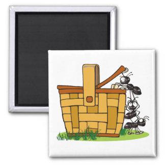 Ant Picnic Basket Square Magnet