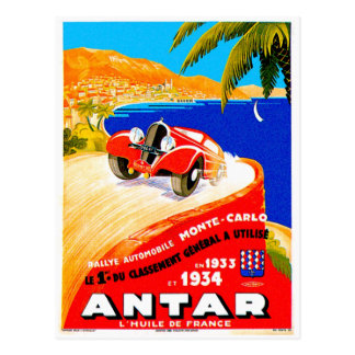 Antar Gas ~ Vintage Auto Road Race Ad Postcard