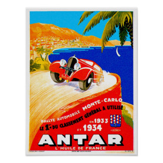 Antar Gas ~ Vintage Auto Road Race Ad Poster