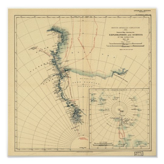 Antarctic Expedition and Surveys Antique Map 1909 Poster