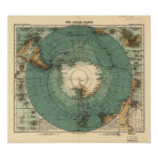 Antarctica Antique Atlas Map of 1912 Poster
