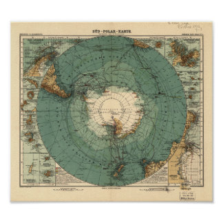Antarctica Antique Atlas Map of 1912 Poster
