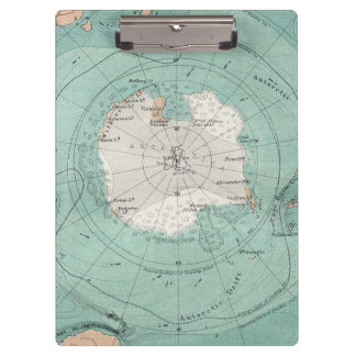 Antarctica Antique Map Clipboard