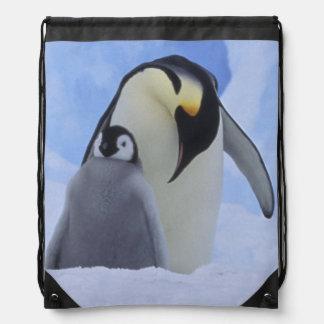 Antarctica. Emperor penguins and chick Drawstring Bag