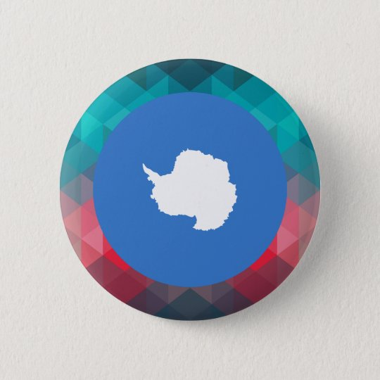 Antarctica flag circle on modern bokeh 6 cm round badge