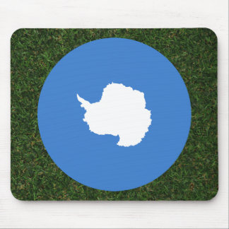 Antarctica Flag on Grass Mouse Pad