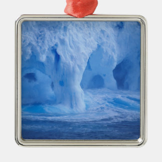 Antarctica. Iceberg with breaking waves Silver-Colored Square Decoration