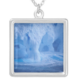 Antarctica. Iceberg with breaking waves Silver Plated Necklace