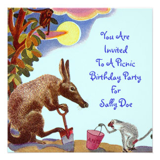 Anteater Birthday Party Invitation Picnic Outdoors
