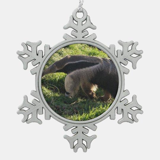 Anteater Snowflake Pewter Christmas Ornament