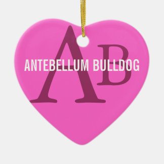 Antebellum Bulldog Breed Monogram Double-Sided Heart Ceramic Christmas Ornament