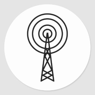 antenna aerial sign classic round sticker