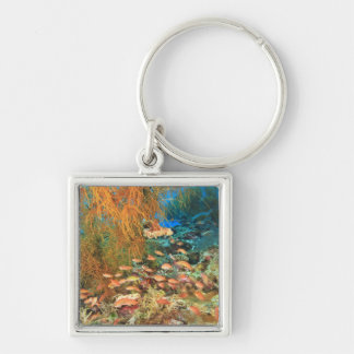 Anthias fish and black coral, Wetar Island, Silver-Colored Square Key Ring
