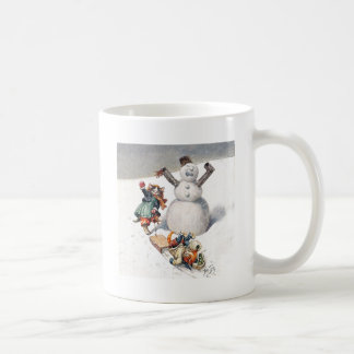 Anthropomorphic Cats Play in the Snow Basic White Mug