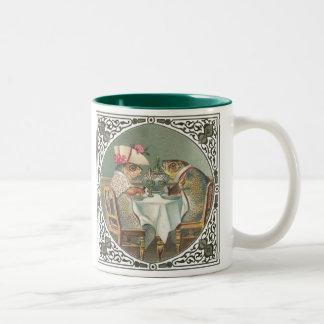 Anthropomorphic Fish Wearing Fancy Clothes Two-Tone Mug