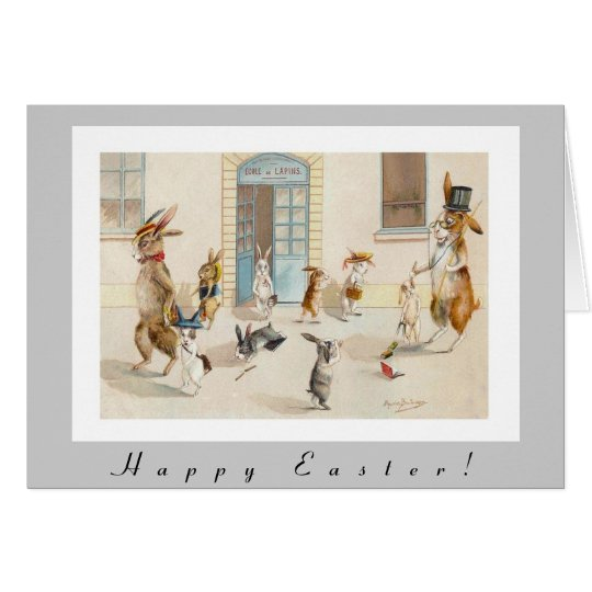 Anthropomorphic Rabbits Head Home From School Card