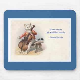 Anthropomorphic Victorian Cat Playing Music Mouse Mat