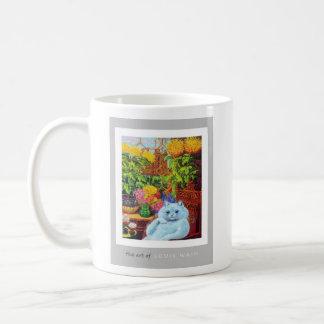 Anthropomorphic White Cat Sitting by Yellow Flower Basic White Mug