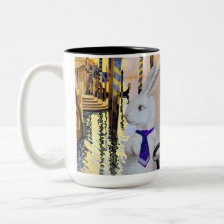 Anthropomorphic White Rabbit in Venice, Italy Two-Tone Mug