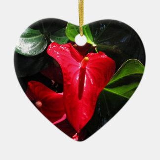 Anthuriums Ceramic Heart Decoration