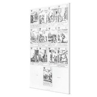 Anti-catholic playing cards commemorating canvas print