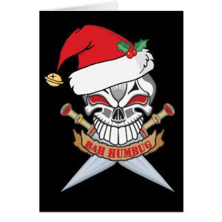 Anti-Christmas Santa Pirate  Skull Greeting Card