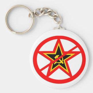 anti-communist basic round button key ring