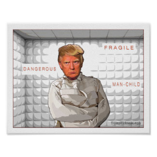Anti Donald Trump painting in a straitjacket Poster