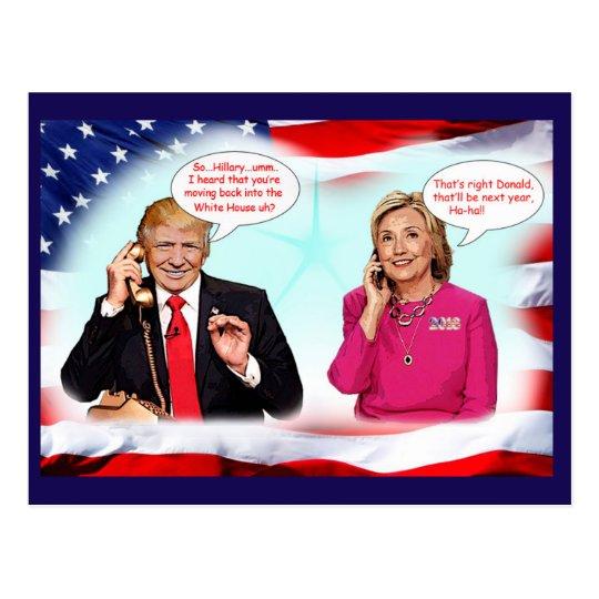Anti-Donald Trump phone conversation. Postcard
