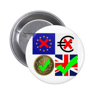 Anti EU & Euro, Pro UK & Pound Sterling (1) 6 Cm Round Badge