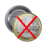 Anti Euro Currency, 1 Euro Coin Red Crossed 6 Cm Round Badge