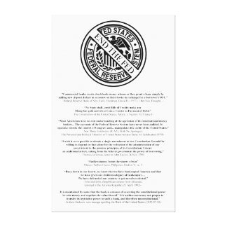 Anti Federal Reserve Logo with Famous Quotes 2 Canvas Print