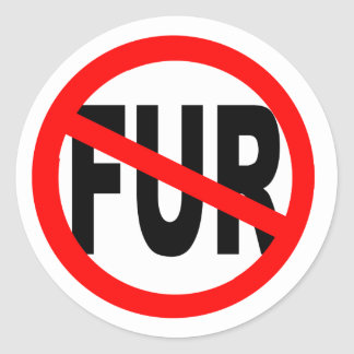 Anti Fur Design Classic Round Sticker