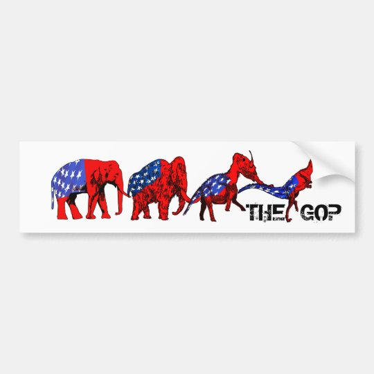Anti-GOP Anti-Republican Evolution Satire Bumper Sticker