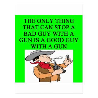 anti gun control joke postcard