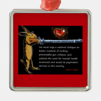Anti-Gun Violence - Listen to Bunny Silver-Colored Square Decoration